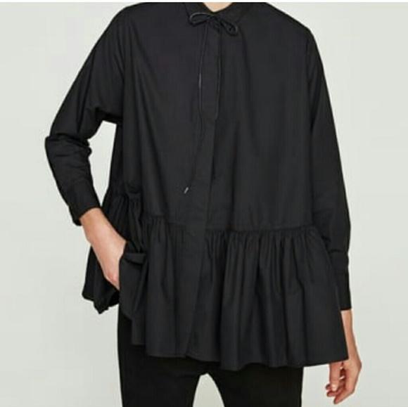 6d71715b04096 Zara Women Frilly Poplin Shirt Black Sz L. M 5a8b96fa3800c5333422aee2